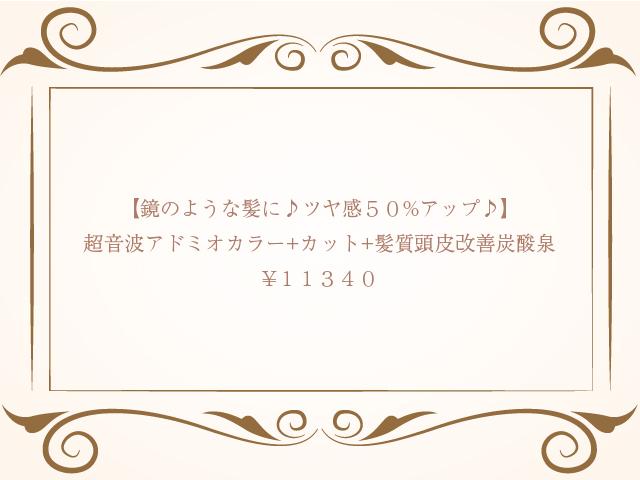 超音波アドミオカラー+カット+髪質頭皮改善炭酸泉  ¥11,340