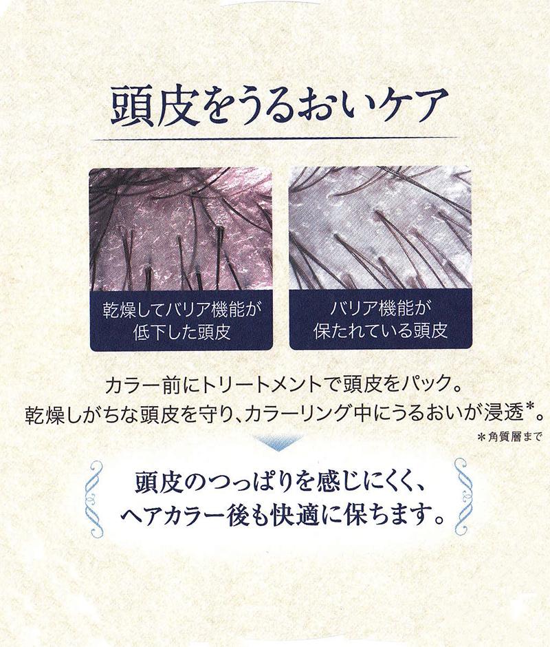 エイジングの頭皮を守りながら、 ヘアカラー中に美容液を頭皮につけることでうるおいが じっくり角質層まで浸透*。