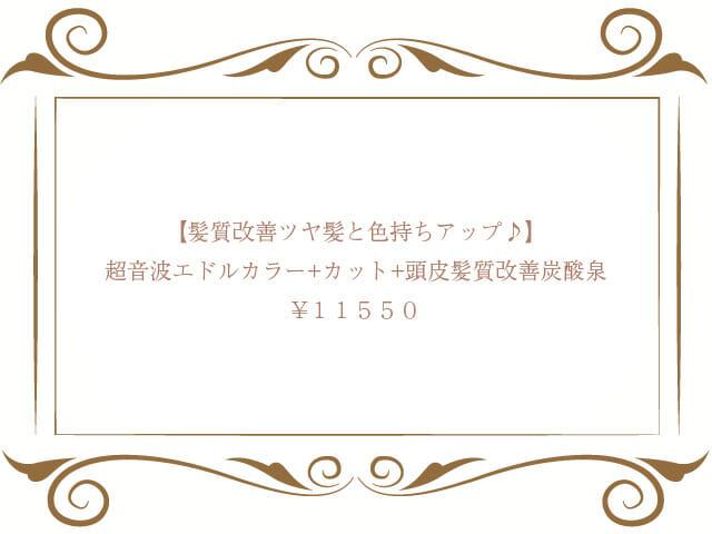 超音波エドルカラー+カット+頭皮髪質改善炭酸泉¥11,550