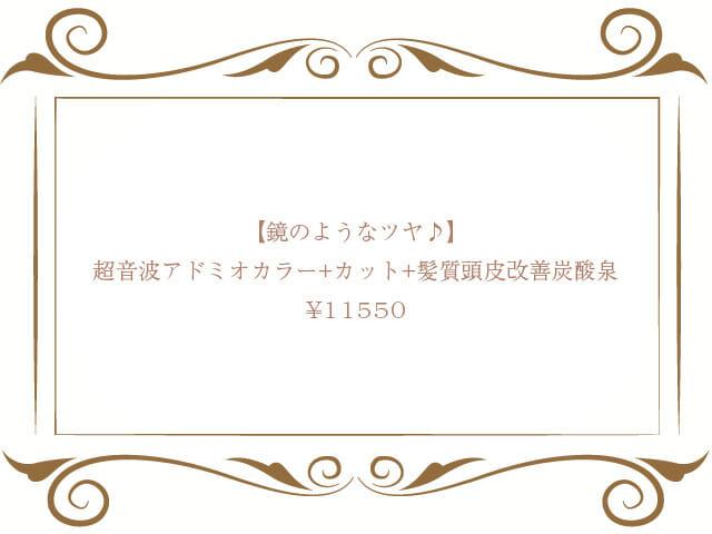 超音波アドミオカラー+カット+髪質頭皮改善炭酸泉  ¥11,550