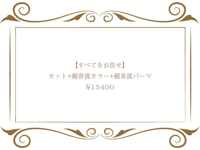 カット+超音波カラー+超音波パーマ+ダブルトリートメント ¥15400