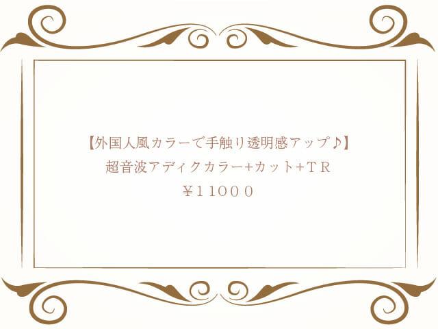 【全員利用可☆外国人風カラーで手触り透明感アップ♪】超音波アディクカラー+カット ¥11000